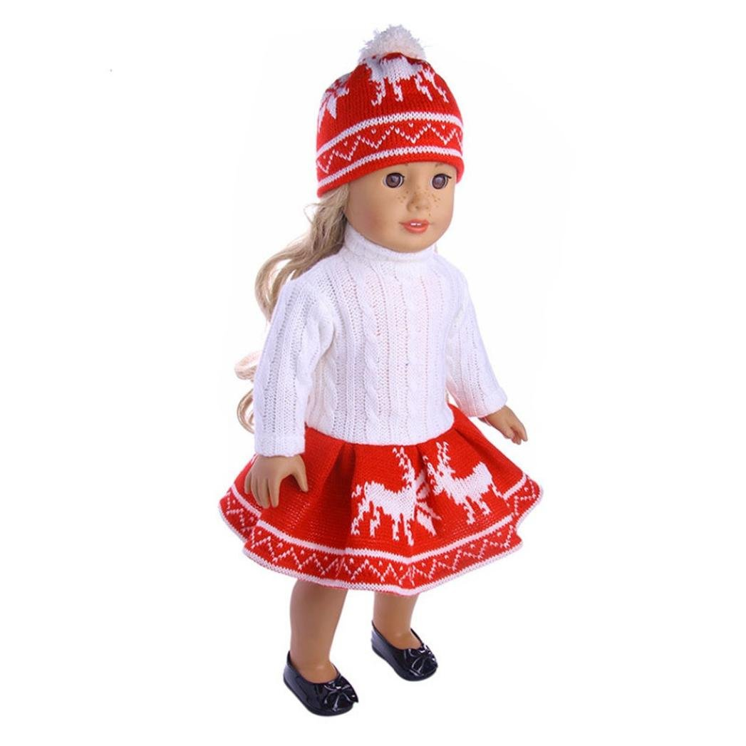WARMSHOP American Girl Doll 18 inch Cute Reindeer Snowman Print Sweater Outfit Set Lovely Dress up Clothes