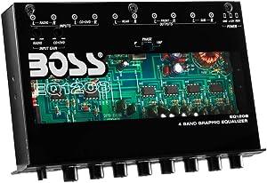 BOSS Audio Systems EQ1208 4 Band Pre-Amp Half-DIN Car Equalizer, Subfoofer Output, Dual Color Illumination