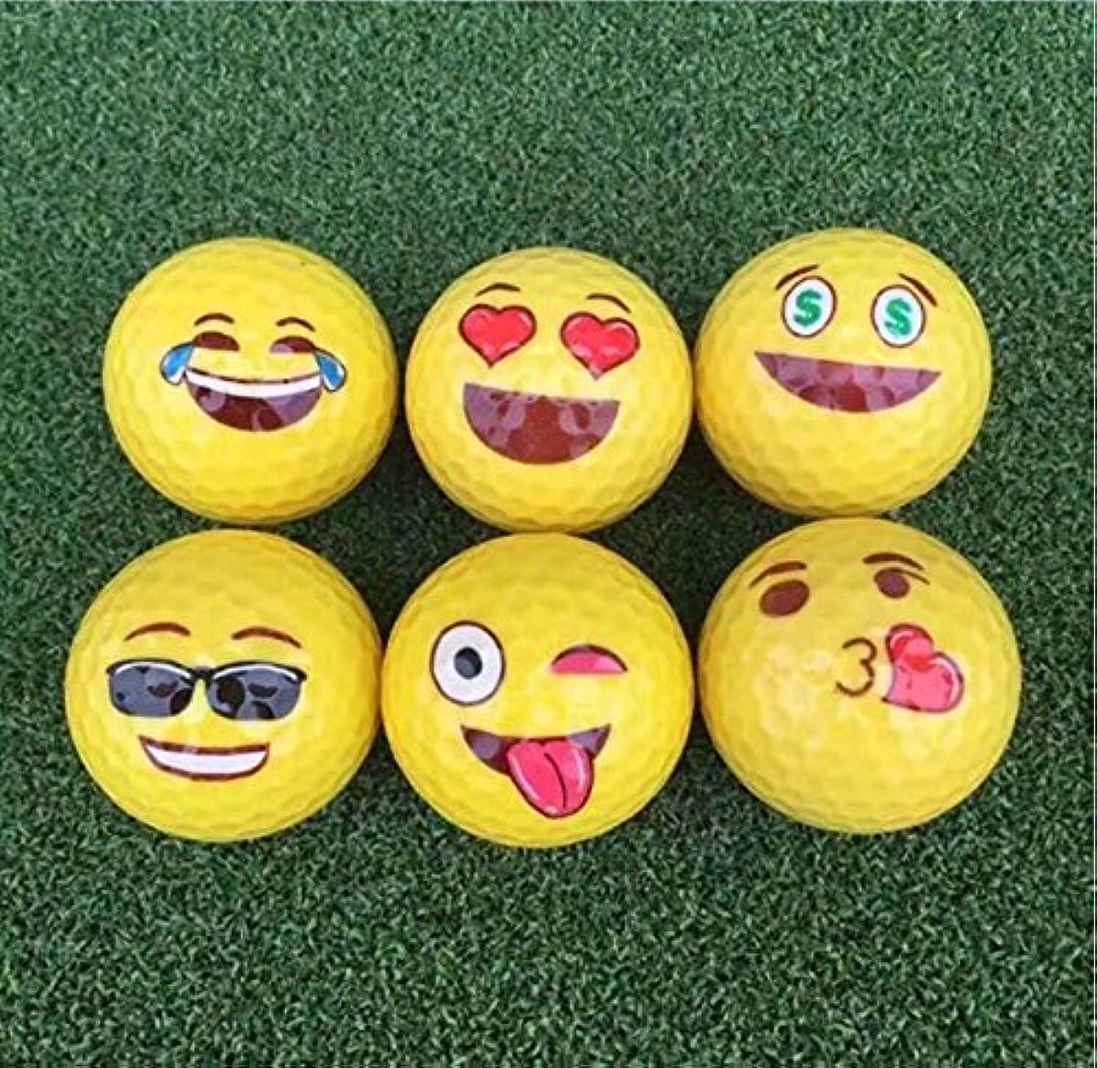 [해외] TOWAY 6피스 그림문자 노벨티 즐거운 골프 볼 골프 게임 트레이닝
