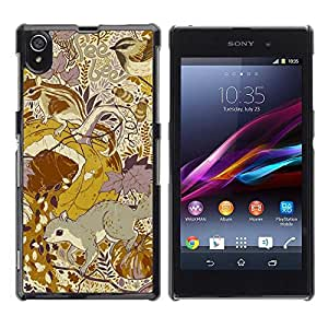Be Good Phone Accessory // Dura Cáscara cubierta Protectora Caso Carcasa Funda de Protección para Sony Xperia Z1 L39 C6902 C6903 C6906 C6916 C6943 // Floral Pattern Yellow Mustard V