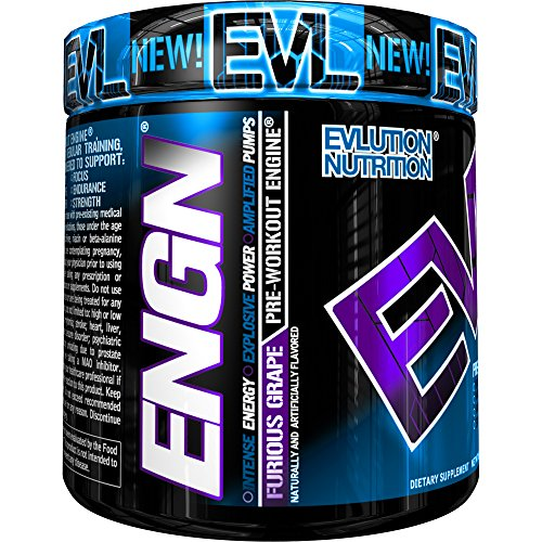 Evlution Nutrition ENGN Pre-Workout, 30 Servings, Intense Pre-Workout Powder for Increased Energy, Power, and Focus Furious Grape Pikatropin-Free