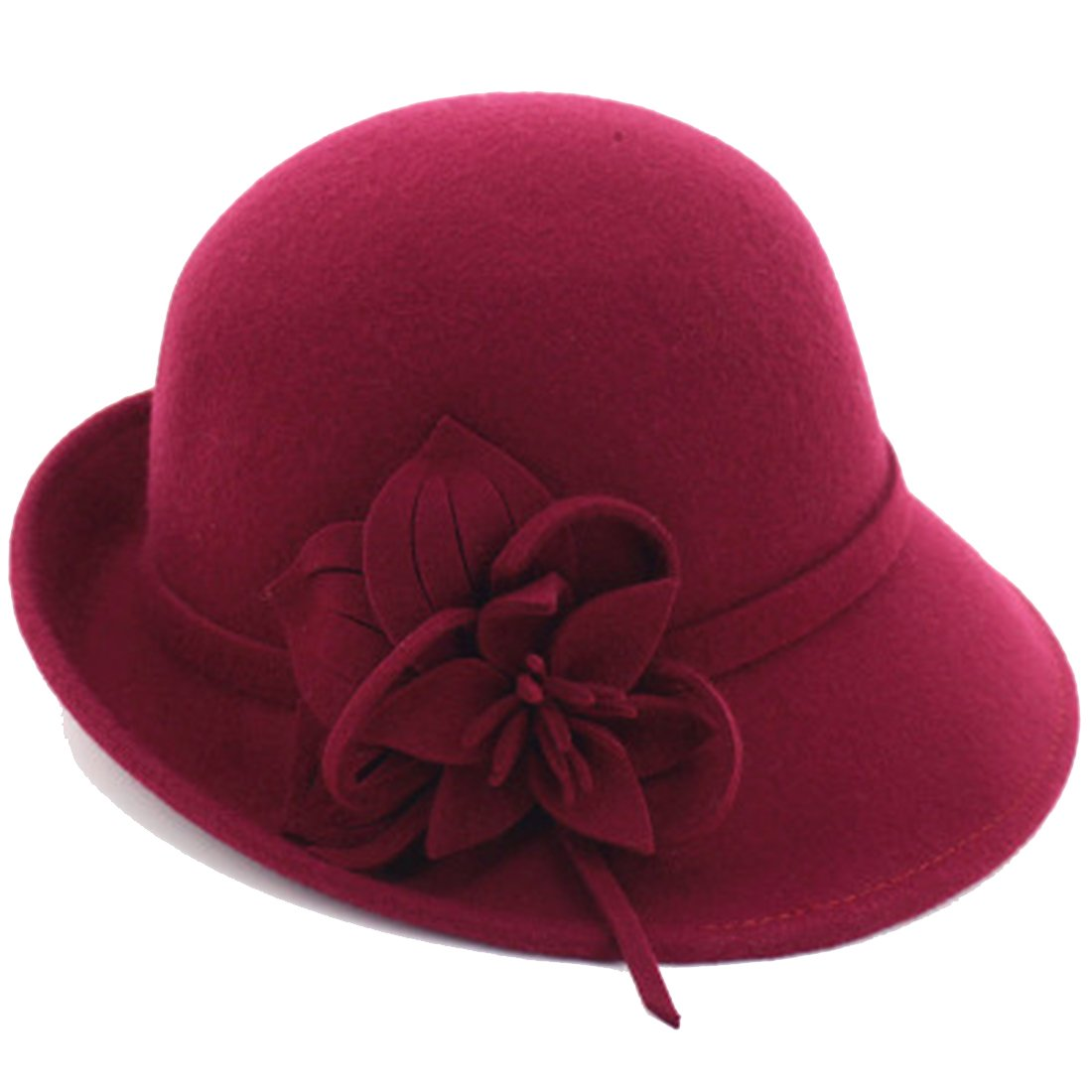 Young_Me Women's Floral Trimmed Wool Blend Cloche Winter Hat (Model B - Wine Red) by Young_Me