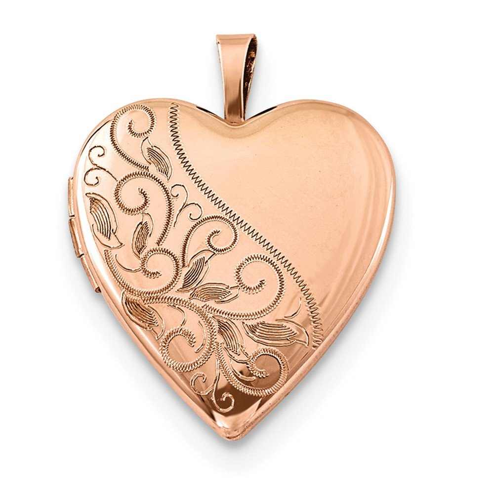 Jewelryweb 925 Sterling Silver Rose Gold-Flashed Swirl and Polished Heart Locket Necklace by JewelryWeb
