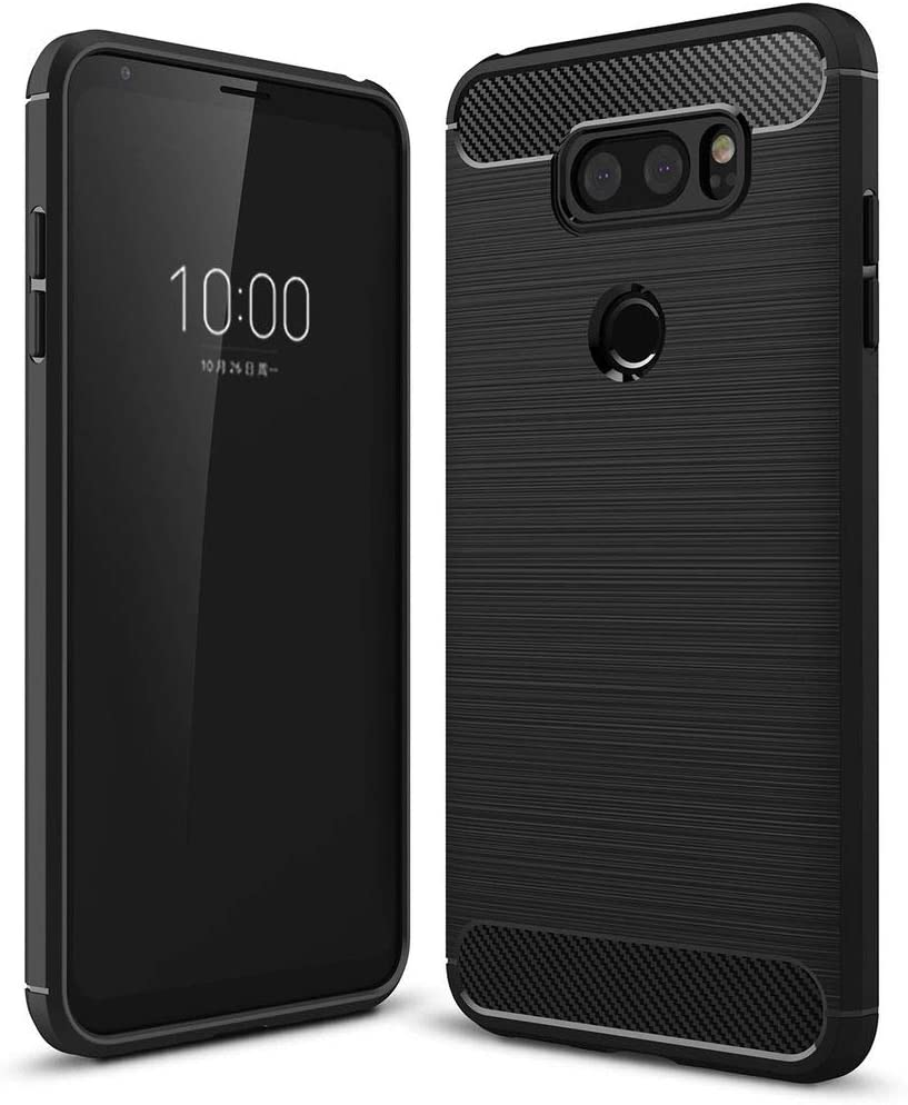 NALIA Silicone Case Compatible with LG V30, Ultra-Thin Protective Phone Cover Rugged TPU Rubber-Case Gel Soft Skin, Shockproof Slim Back Bumper Protector Smartphone Back-Case Shell - Black