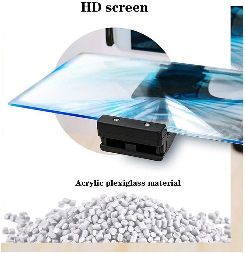 IRVING Flexible Movie Projector Amplifier Mobile Phone Holder 12 Inch HD Magnifying Glass for Stereoscopic Phones 3D Mobile Phone Magnifying Glass,60Cm Color : Black