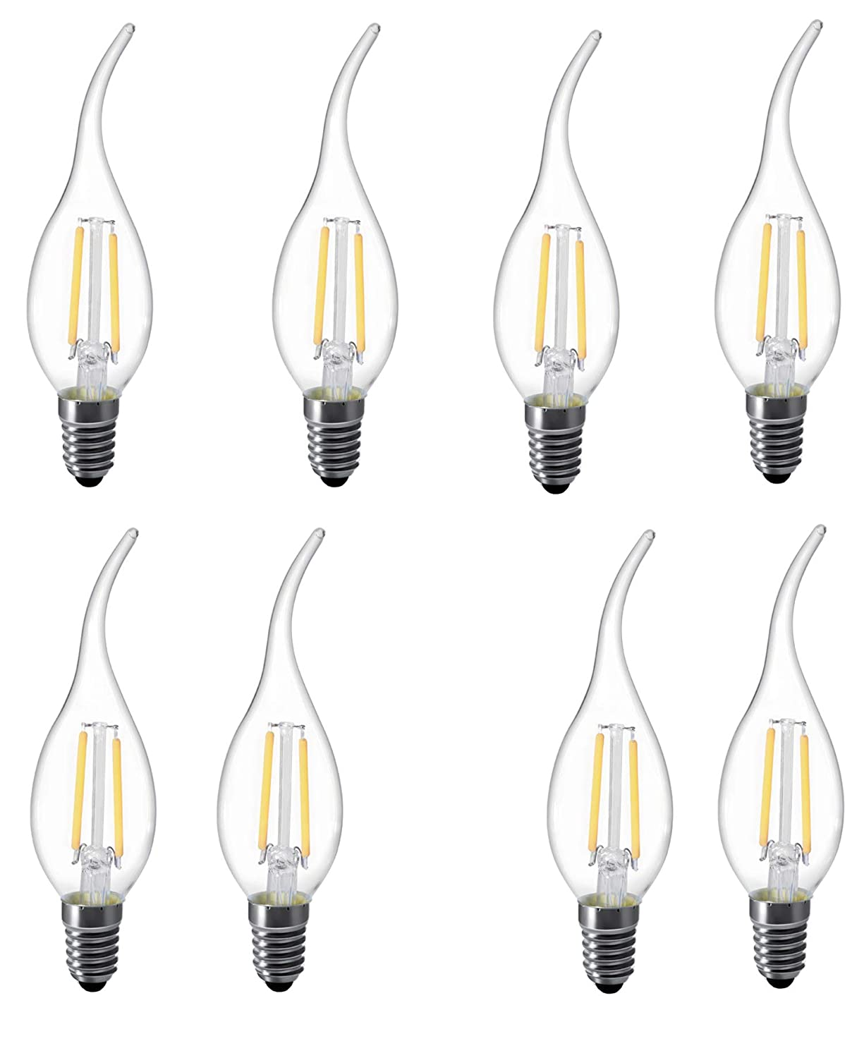 LUXON Flame tip LED Filament Candelabra Light Bulb Warm White 2700k Use in Chandeliers,Wall Sconces,and Pendant Lighting (8 pcs)