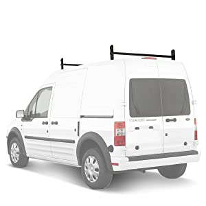 AA-Racks Model DX36 Compatible Ford Transit Connect 2008-13 Steel 2 Bar Utility Drilling Van Roof Ladder Rack System - Sandy Black
