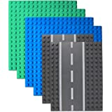 Lynnda 6 Pack Large Blocks Baseplates, 4 Pack One-Side Baseplates, 2 Pack Straight Road Baseplates, Compatible with Duplo, Mega and Others Major Brand Bigger Size Bricks