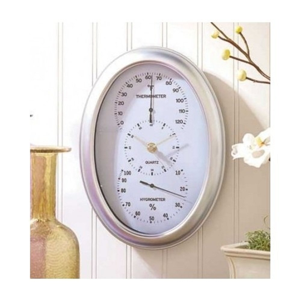 Indoor Weather Station: thermometer clock and hygrometer - Oval silver frame
