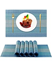 BIPASION Placemats Set of 6, Heat-Resistant Place mats Stain Resistant Anti-Skid Placemats for Dining Table, Washable Durable PVC Table Mats Woven Vinyl Placemats