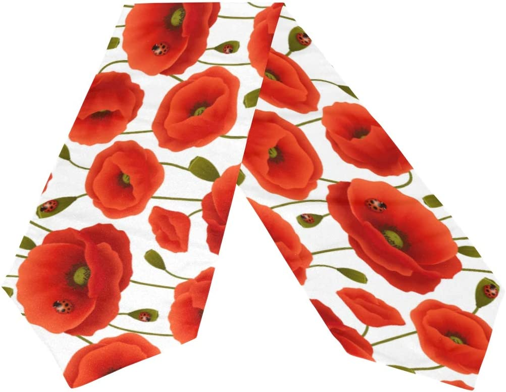 WOOR Double-Sided Poppy Flowers A Table Runner 13 x 70 Inches Long,Table Cloth Runner for Wedding Party Holiday Kitchen Dining Home Everyday Decor
