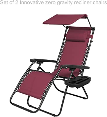 Zero Gravity Chair Outdoor Patio Porch Recliner Seats Comfortable Adjustable Padded Headrests Durable Textilene Fabric Backrest w/ Sunshade Canopy & Cup Holder Tray - Set of 2 Burgundy #1939