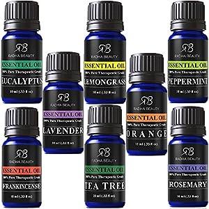 Radha Beauty Aromatherapy Top 8 Essential Oils 100% Pure & Therapeutic grade Basic Sampler Gift Set & Kit (Lavender, Tea Tree, Eucalyptus, Lemongrass, Orange, Peppermint, Frankincense and Rosemary)