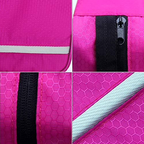 Travel Toiletry Bag Business Toiletries Bag for Men Shaving Kit Waterproof Compact Hanging Travel Cosmetic Pouch Case for Women (Hot Pink) by Relavel (Image #4)