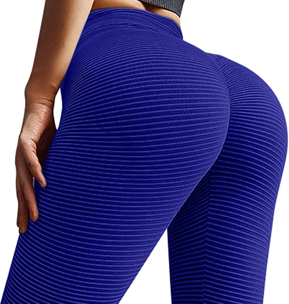 A AGROSTE Women's Butt Lift Anti Cellulite Sexy Leggings High Waist Yoga Pants Workout Tummy Control Textured Booty Tights