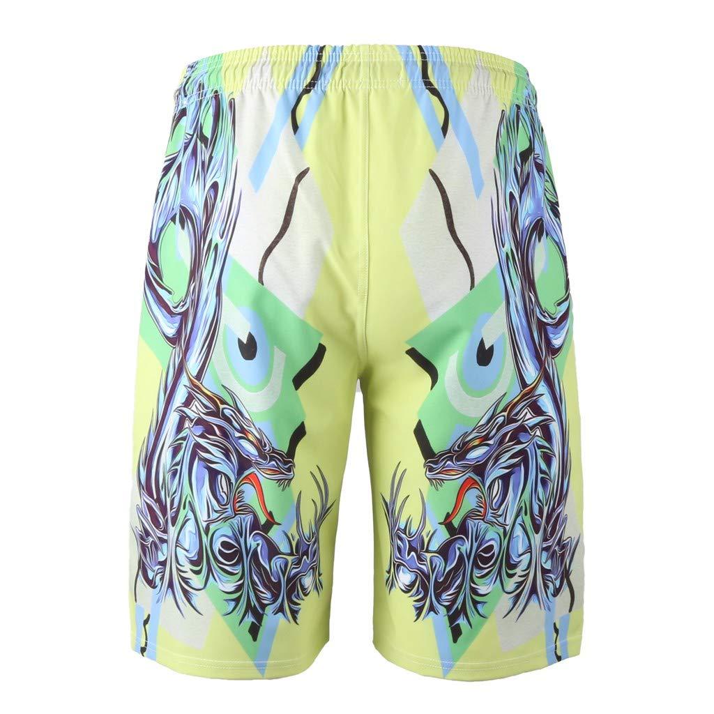 Mens Summer New Tigivemen Drawstring Elastic Waist Surfing Beach Board Shorts with Mesh Lining 3D Printed