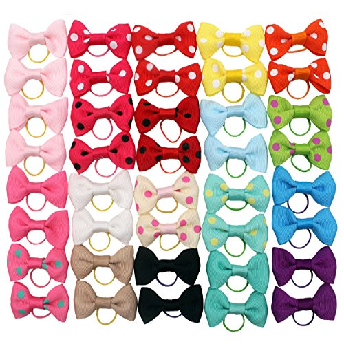CellElection 40Pcs/20Pairs Dog Hair Bows with Rubber Bands Classic Dog Bows for Small Dogs Pet Gromming Products Dog Hair Accessories