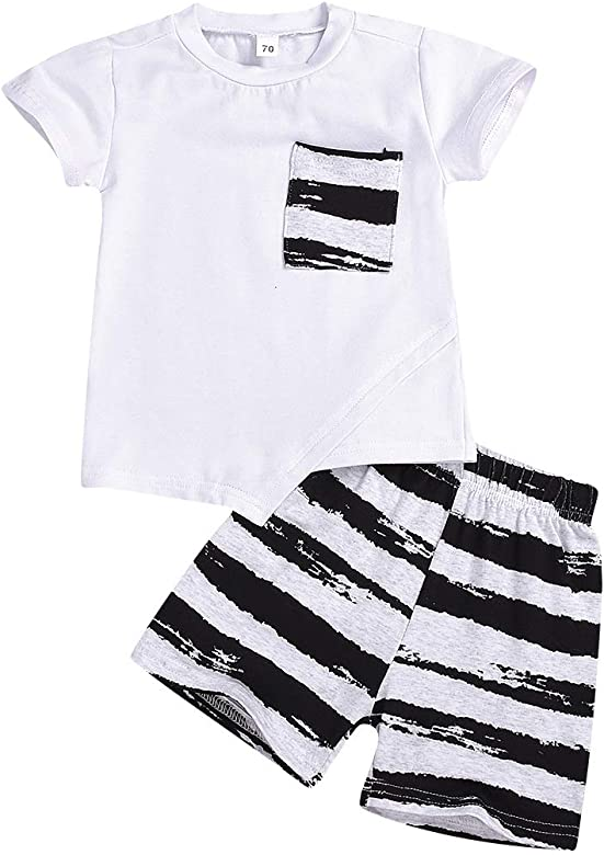 Weixinbuy Baby Boys Clothes Set Sleeveless Hooded T-Shirt Top Striped Shorts Clothing Set