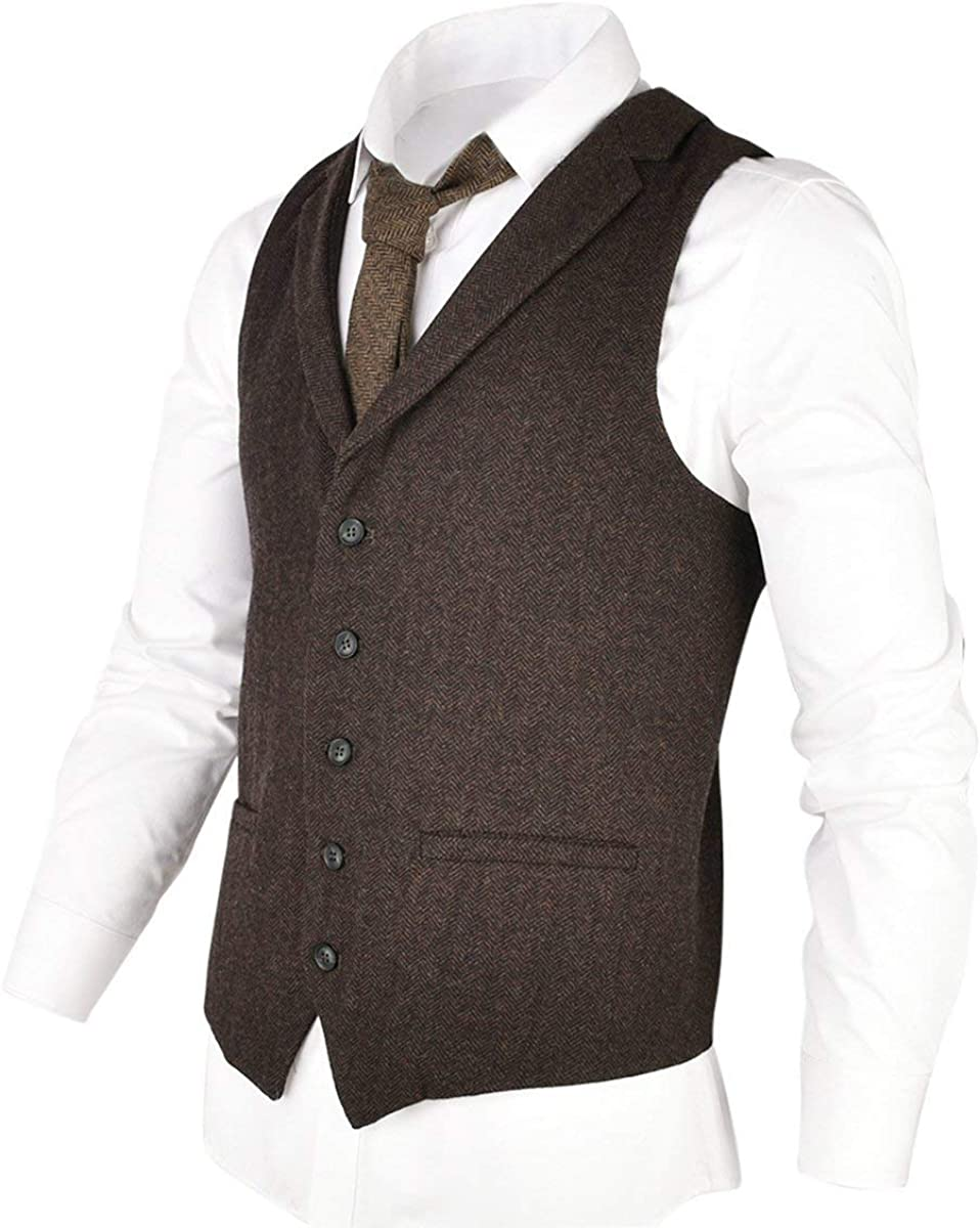 YSMO Mens Tweed Waistcoat Slim Fit Dress Suit Formal Vest Wedding Prom