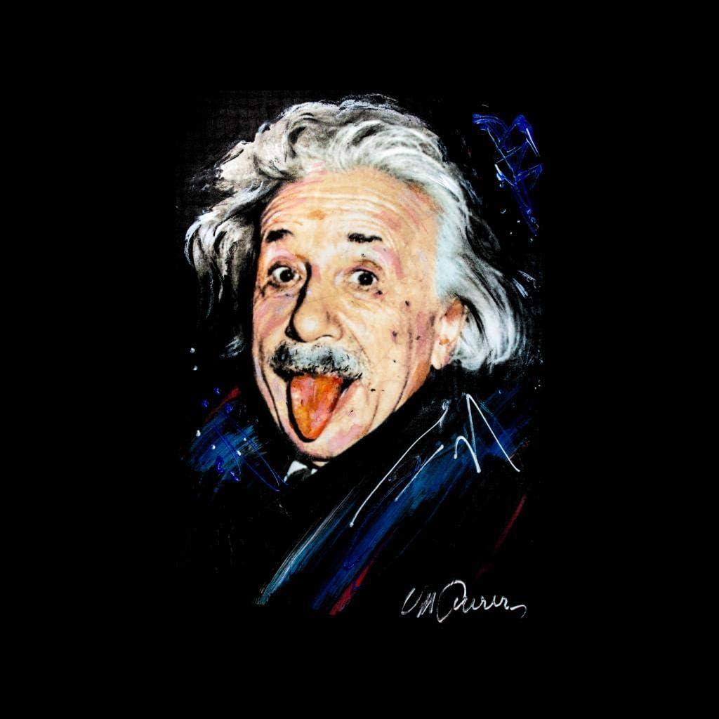VINTRO Albert Einstein Herren Kapuzenpullover Original Portrait von Sidney Maurer professionell Bedruckt Oxford Navy