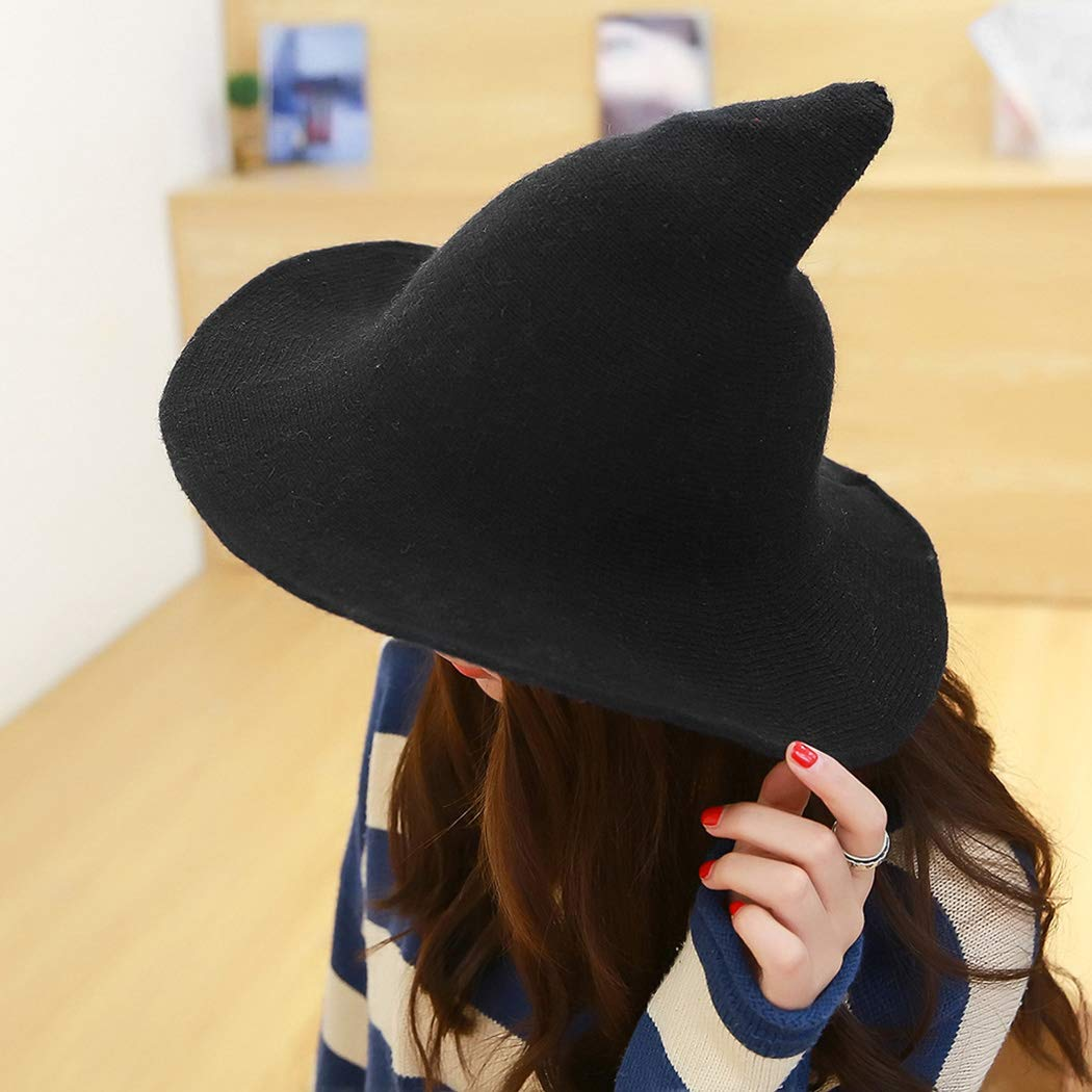 b7f25fcb328 Amazon.com  FUNOC Modern Witch Hat Foldable Costume Ball Sheep Wool  Halloween Witch Hat  Clothing