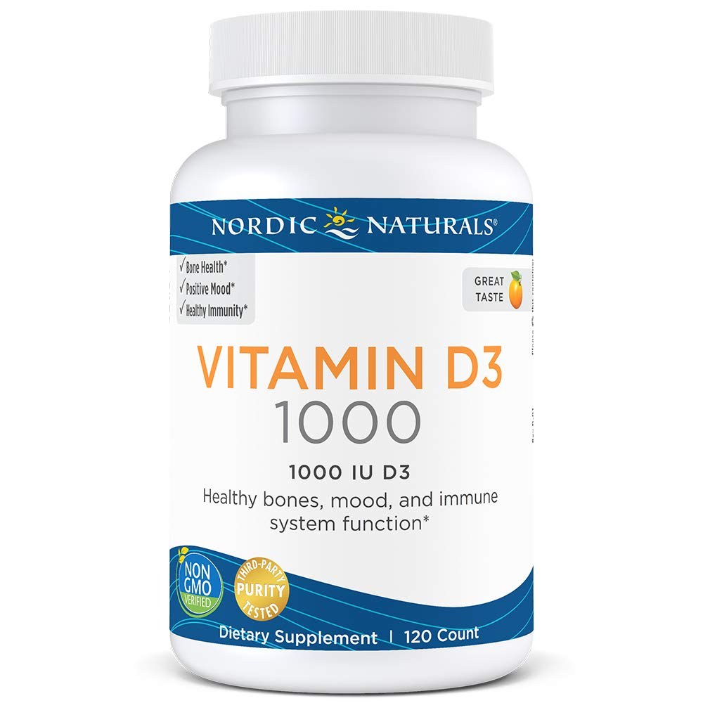 Nordic Naturals Vitamin D3-25 mcg (1000 IU), Daily Dose of Vitamin D3 Supports Bone Health and Immune System Function, Helps Regulate Mood and Sleep Rhythms, Orange, 120 Soft Gels