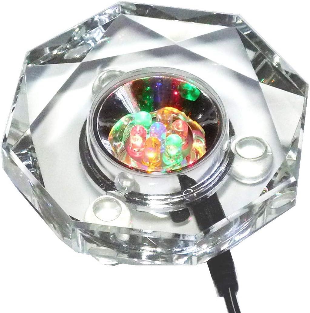 Light-Up Display Stand@ROUND MIRROR@ILLUMINATE Ornamental GLASS /& CRYSTAL L E D