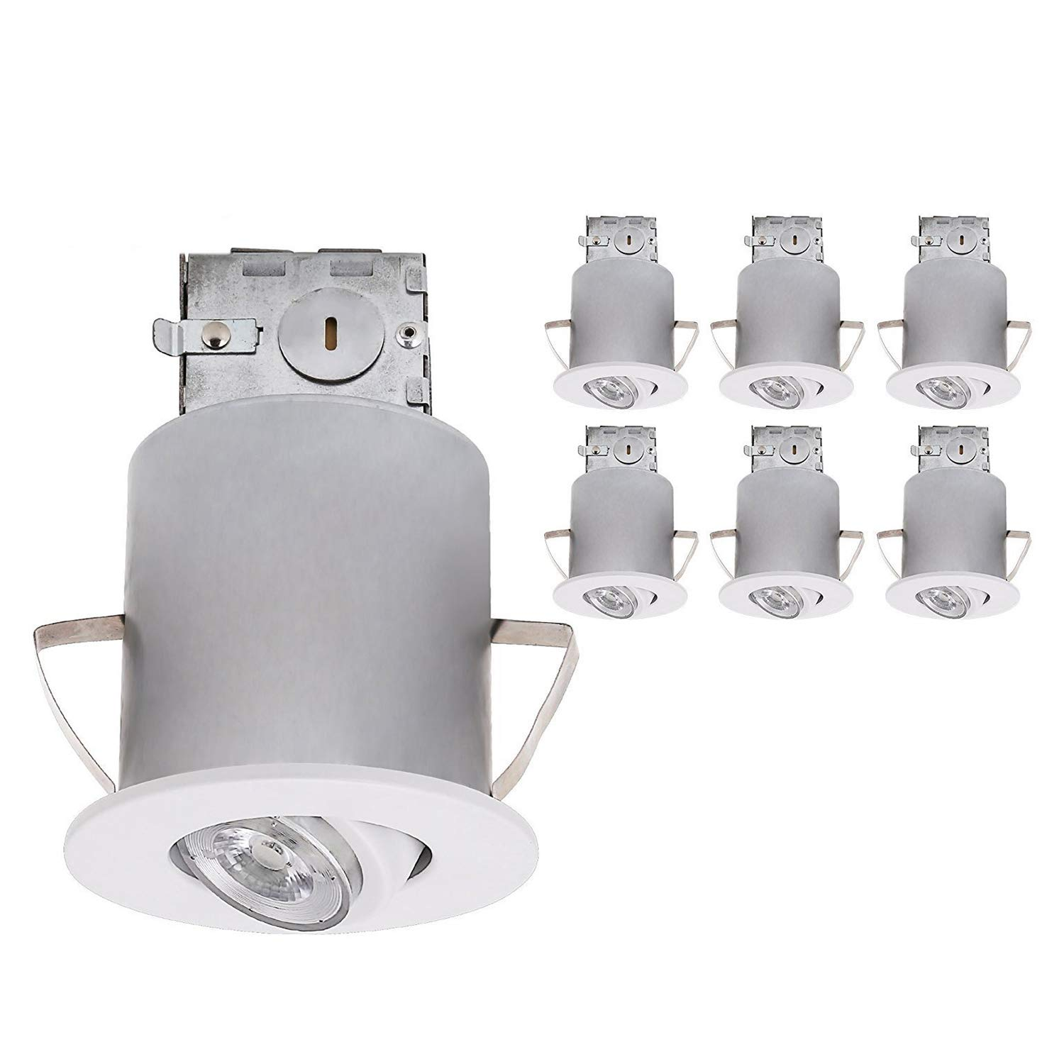 TORCHSTAR Recessed Lighting Kit: 3-Inch ETL-listed Airtight IC Housing + White Swivel Trim + LED Dimmable GU10 Light Bulb Warm White, Rotatable Spotlight, Decorative Retrofit Downlight, Pack of 6