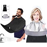 2Pcs Hair Cutting Cape and Beard Bib, Haircut Cape Hair Catcher for Adults/Kids, Beard Catcher Apron for Shaving and Trimming