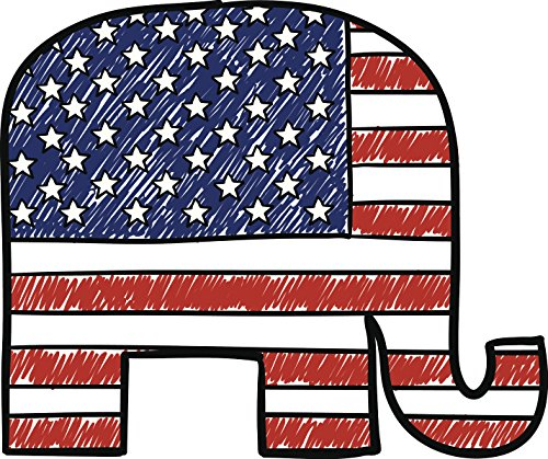 Political Red White And Blue American Pencil Illustration #3 - Republican Party Elephant Cartoon Vinyl Decal Sticker (2