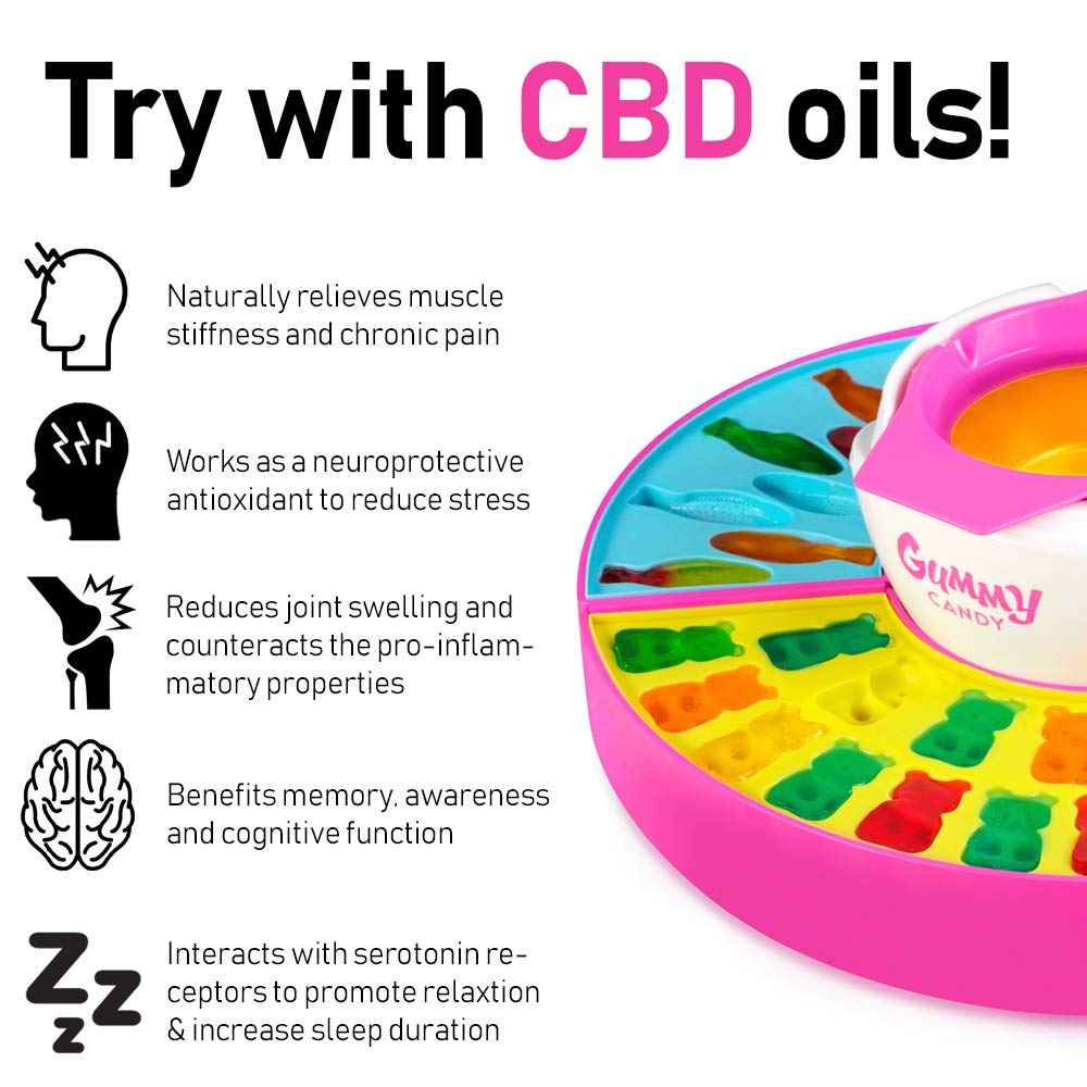 Nostalgia GCM600 Electric Giant Gummy Bear, Fish and Worm Maker Try with your own CBD Oil, Pink by Nostalgia (Image #6)