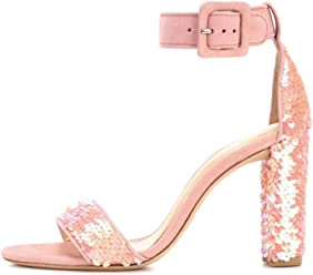 e85f5ba9bf28 onlymaker Women s Ankle Strap Block Chunky High Heel Sequins Sandals Cute  Party Shoes