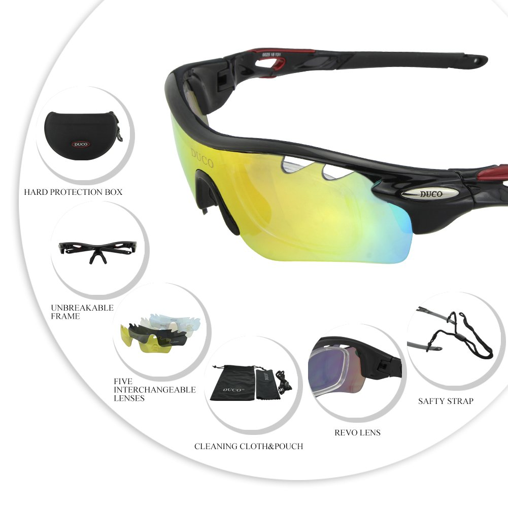 dd06b08729 POLARIZED Sports Sunglasses Cycling Glasses With 5 Interchangeable Lenses  (Black)