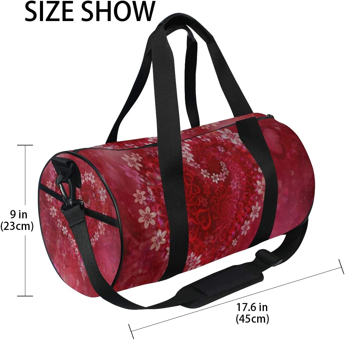 Sports Bag Happy Valentines Floral Love Mens Duffle Luggage Travel Bags Kid Lightweight Gym bag