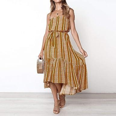 Vestidos de Tirantes, SUNNSEAN Mujer Elegante, 2019 de Moda, Vestido Verano, Playa Camisón, Casuales sin Manga, Moda y Comoda, Bicolor, Costura Vestido ...