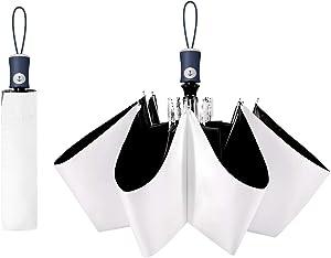Cuby UV Sun Umbrella Compact Folding Travel Umbrella Auto Open and Close for Windproof, Rainproof & 99% UV Protection Parasol with Black Anti-UV Coating (White)