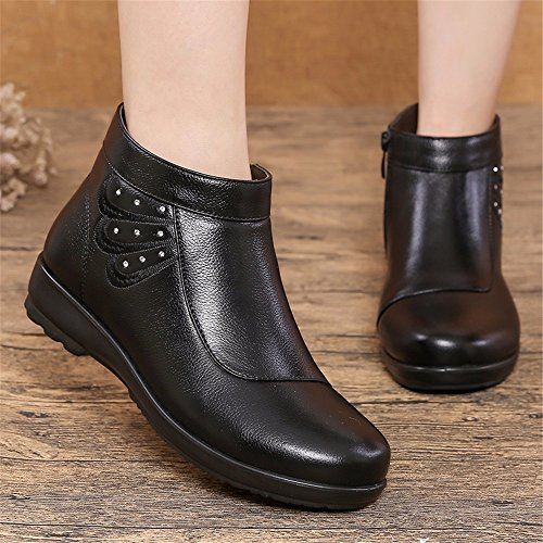 Warm Shoes Thick Boots Head HXVU56546 Velvet Winter Cotton Shoes Round Black With Flat Soft Leather tcqw48gq