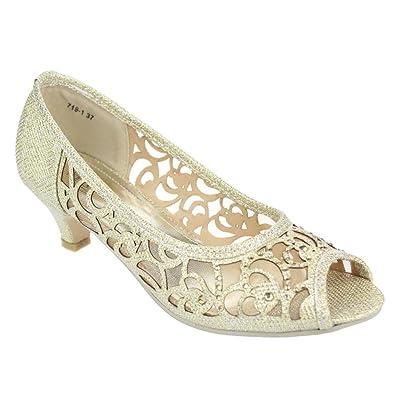 Women Ladies Evening Party Wedding Peeptoe Diamante Low Kitten Heel Gold Sandals Shoes Size 3