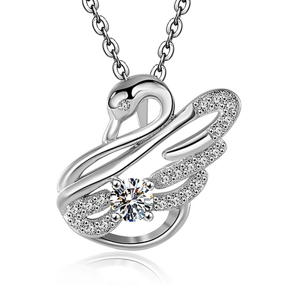 mis White Crystal Swan Pendant Necklace Jewelry for Women and Girls