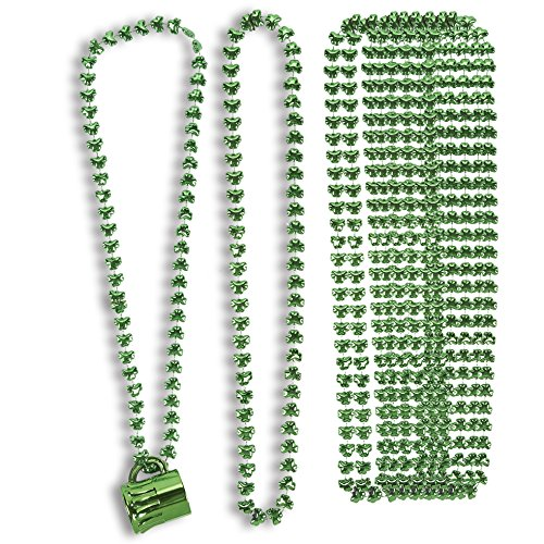 16-Count St. Patrick's Day Party Necklaces - Shot Glass Beaded Necklace, Shamrock Necklaces, Party Favors Green, 30 Inches