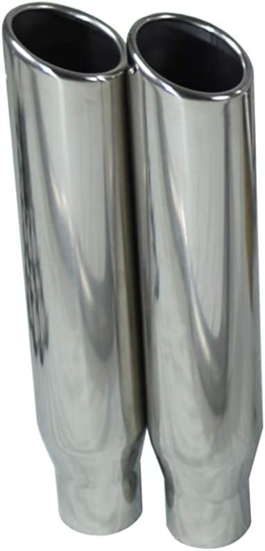 Shop Line dual exhaust system 2.5 AL pipe Flowmaster Super 44 2.5 Polished Rolled Edge Clamp on Tip Corner exit Truck Exhaust Kits