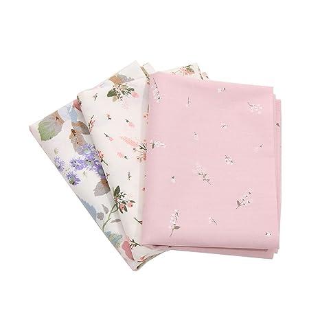 FOVIUPET 3 piezas 50 x 40 cm 100% algodón tela costura textil flor patchwork bebé