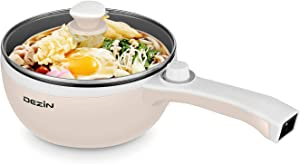 Dezin Electric Hot Pot Upgraded, Non-Stick Sauté Pan, Rapid Noodles Cooker, 1.5L Mini Pot for Steak, Egg, Fried Rice, Ramen, Oatmeal, Soup with Temperature Control, Beige (Egg Rack Included)