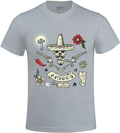 Fashion Mexican Style Art Bone Crew-Neck Tshirts for Male