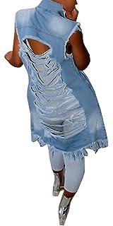 bcd90b9f57 Imily Bela Women s Ripped Button Down Long Sleeveless Open Front Denim  Jacket Vest Mini Dress