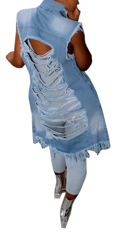 Imily Bela Women's Ripped Button Down Long Sleeveless Open Front Denim Jacket Vest Mini Dress (XXX-Large, Blue)