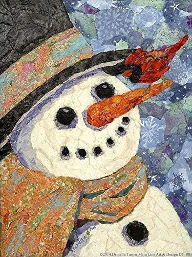Buyartforless Snowman And Cardinal By Demetra Turner 16x12 Graphic Art Canvas Blue Amazon Ca Home Kitchen