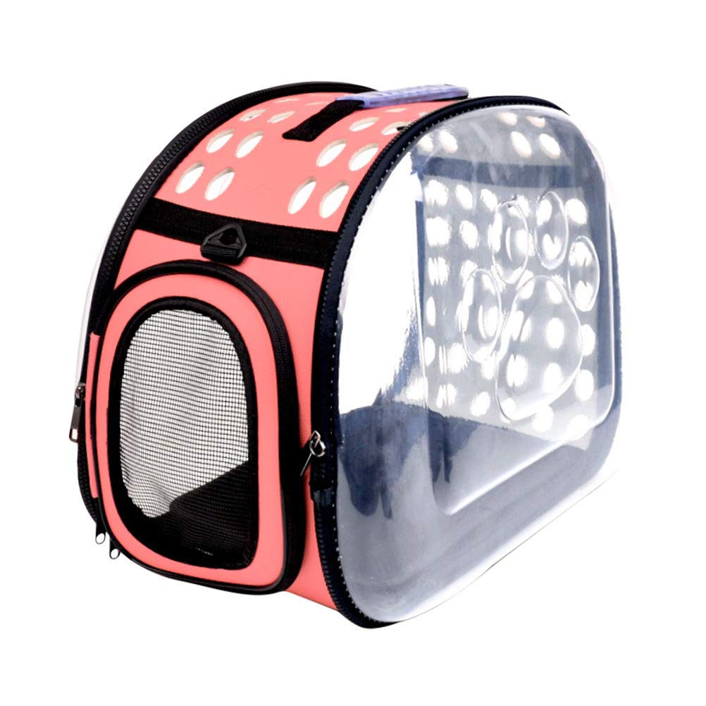 As Shown POPETPOP Portable Pet Carrier Breathable Cat Carrier Foldable Puppy Travel Outdoor Backpacks (Pink)