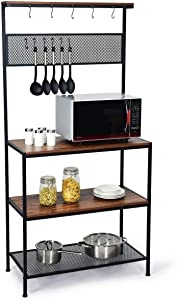 Giantex Kitchen Baker's Rack, Industrial Microwave Oven Stand, Mesh Panel with 11 Hooks, Storage Shelves for Utensils, Metal Frame, Standing Cupboard, Easy Assembly (Rustic Brown)
