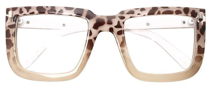 9406904af0 Big Square Horn Rim Eyeglasses Nerd Spectacles Clear Lens Classic Geek  Glasses (BEIGE LEOPARD 2016